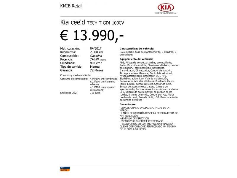 Kia ceed 1.0 T-GDi 74kW Eco-Dynamics Tech