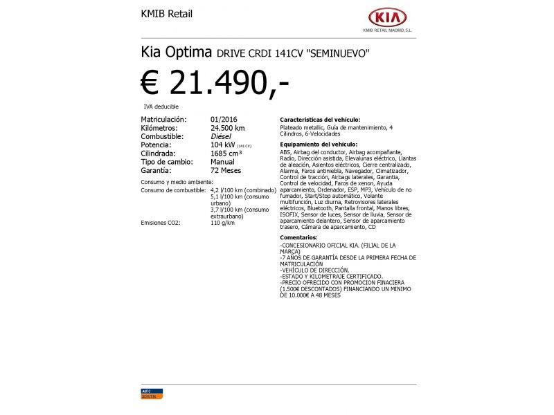 Kia Optima 1.7 CRDi VGT 141CV Eco-Dynamics Drive